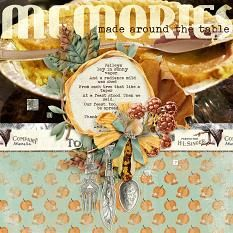 Around The Table #digitalscrapbooking layout by AFT designs using 'Soft Harvest' digital scrapbooking kit