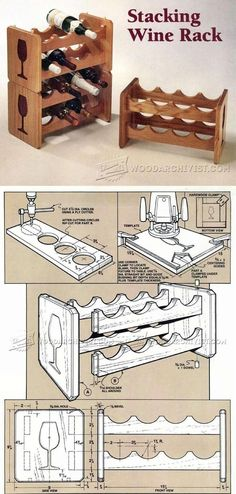 Stacking Wine Rack Plans - Furniture Plans and Projects Woodwork, Woodworking, Woodworking Plans, Woodworking Projects Woodworking Furniture Plans, Woodworking Projects That Sell, Diy Wood Projects, Diy Woodworking, Wood Crafts, Diy Furniture, Diy And Crafts, Projects To Try, Wine Rack Plans