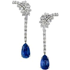 A Pair Of Sapphire Diamond Ear Pendants found on Polyvore || I really want earrings like this.