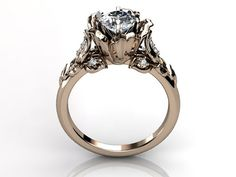 14k rose gold diamond unusual unique floral engagement ring, bridal ring, wedding ring by Jewelice, $1186.95