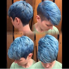 Sky blue hair color and crop cut clipped to perfection by Ruby Devine #hotonbeauty pixie hair cut Facebook.com/hotbeautymagazine clipper cut