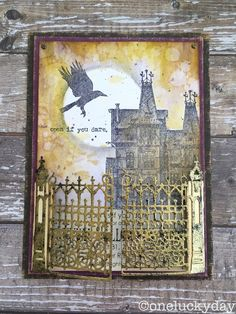 Check out Paula's tutorial on how to make a bigger haunted house with one stamp and this really cool gate that opens on Hinges!  One Lucky Day: Open if you Dare...