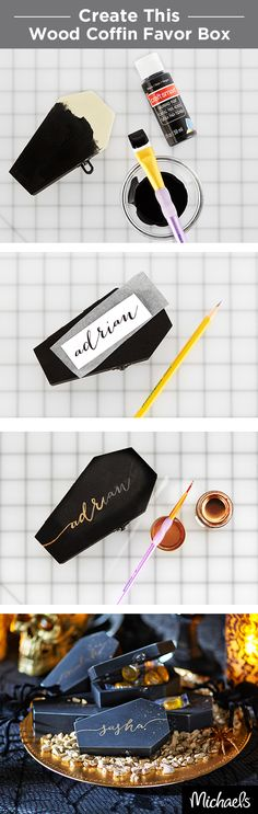 Mini wood coffins filled with your favorite treats are perfect Halloween party favors. Personalize each one with liquid gilding and give to all your guests. Everything you need for this project can be found at your local Michaels store.