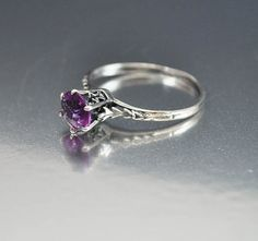 Vintage Sterling Silver Filigree Amethyst Ring Size 6 Engagement Ring Art Deco Wedding Jewelry
