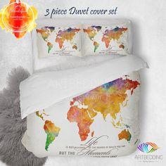 Watercolor world map bedding, Watercolor art print duvet cover set, Grunge…