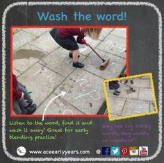 Our favourite phonic activity that can be adapted to practise anything and everything! Chalk your words on the ground, hand out a wet brush, call out a word and watch them wash it away! Learning Phonics, Phonics Games, Phonics Reading, Jolly Phonics, Word Games, Nursery Activities, Spelling Activities, Phonics Activities, Learning Activities