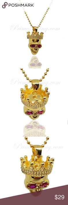 """Skull Pendant W/ Lab Sim Ruby Eyes 36"""" Chain This Hip Hop Skull Pendant is very Hot! It comes with a free 36"""" Stainless Steel Bead Chain primobling Accessories Jewelry"""