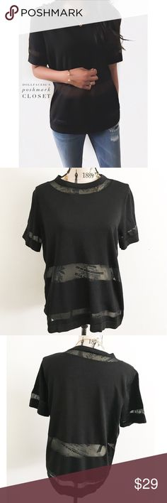 """Topshop Black Sheer Panel Top ✦this top has a stretchy black panel with a cool & chic striped sheer panel style{I am not a professional photographer, actual color of item may vary ➾slightly from pics}  ❥chest:21"""" ❥waist:21.5"""" ❥length:26"""" ❥sleeves:9"""" ➳material/care:no info available, but stretchy  ➳fit:stretchy might work for lrg  ➳condition:few light snags on sheer panel   ✦20% off bundles of 3/more items ✦No Trades  ✦NO HOLDS ✦No transactions outside Poshmark  ✦No lowball offers/sales are…"""