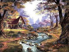 Watercolor Landscape, Landscape Art, Landscape Paintings, Belle Image Nature, Thomas Kinkade Art, Kinkade Paintings, Pintura Exterior, Cottage Art, Autumn Scenery
