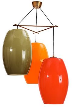 A Gino Vistosi ceiling lamp, Italy 1960s. Brass fittings, three different coloured glass shades. Hei.... - The Spring Contemporary, Stockholm 573 – Bukowskis