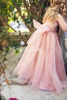 2015 Cute Flower Girl Dresses For Weddings Blush Organza Sash Bow Jewel A Line Floor Length Cheap Kids Formal Dress Junior Bridesmaid Dress Girl Dresses Girl Shoes From Sweet Life, $47.67  Dhgate.Com