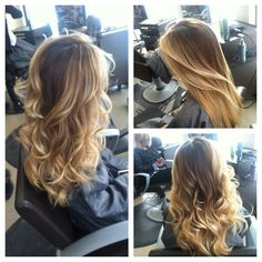 Color melt, balayage, hair painting, highlights, warm blonde