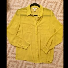Sheer Deep Yellow Blouse Sheer deep yellow button down blouse Forever 21 Tops Blouses