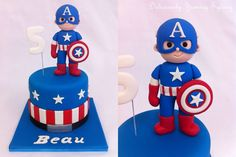 Captain America cake - Visit to grab an amazing super hero shirt now on sale! Captain America Birthday Cake, Captain America Cake, Fondant Toppers, Fondant Cakes, Cupcake Cakes, Harry Birthday, Superhero Birthday Party, Pastel Capitan America, Decors Pate A Sucre