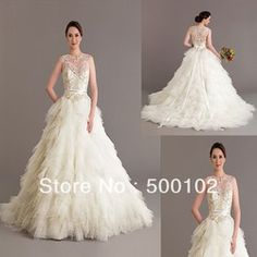Online Shop 2014 Vintage Wedding Dresses Jewel Neckline Beaded Pearls Tiered Tulle Sash Sweep Train Vestidos |Aliexpress Mobile