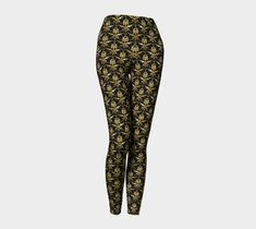 Black and Gold Leggings, Leggings by Brittany Bonnell. Printed leggings with compression fit performance fabric milled in Montreal Gold Leggings, Printed Leggings, Shop Art, Design Lab, Workout Leggings, Brittany, Fabric, Pants, Shopping
