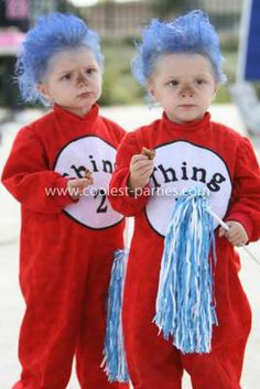 Homemade Thing 1 and Thing 2 Twins Costume: These are my twin girls that I am adopting. This is their first Halloween with me. I thought this Thing 1 and Thing 2 Twins Costume was a cute idea...