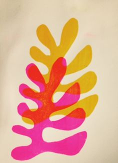 "Monoprint ""inspired by Matisse""cutouts by Henriëtte Pentenga"