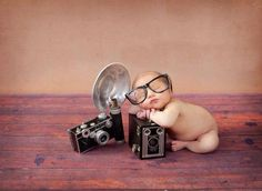 New born with camera