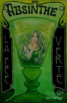 1-absinthe-the-green-fairy-la-fee-verte-marcia-connell.jpg (587×900) | The  dope show | Pinterest | Hadas, Verde y Artistas
