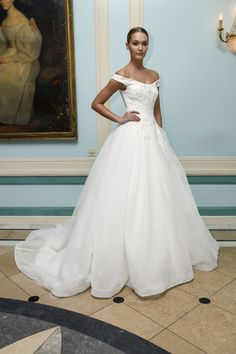 Off the shoulder ball gown wedding dress by Truly @zacposen   Bridal Market Fall 2016