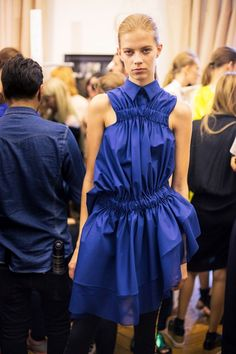 Blue gathering shirtdress backstage at Viktor & Rolf SS15 PFW. More images here: http://www.dazeddigital.com/fashion/article/21975/1/viktor-rolf-ss15