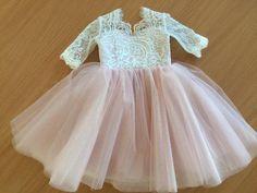 Lace Top Half Sleeves Pink Tulle Flower Girl Dresses, V-back Popular Little Girl Dresses, FG027