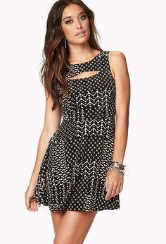 Cutout Geo Skater Dress | FOREVER21 - 2040495625