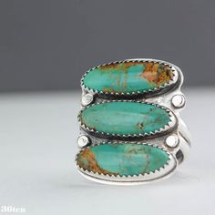 Green Turquoise Ring Sterling Silver Ring Southwest Ring door 36ten