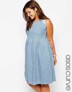 ASOS Curve ASOS CURVE Exclusive Plus Size Skater Dress With Crochet Trim - blue