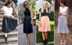 Várias inspirações para você apostar na saia mídi plissada sem ser ladylike demais - Moda - CAPRICHO
