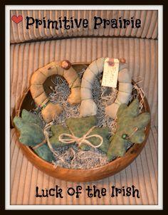 Primitive Irish shamrocks, primitive horseshoes, St. Patricks day decoration, bowl filler, tucks, ornie, hand made. on Etsy, $12.95