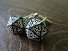 D20 steampunk dice cufflinks geek nerd rpg gamers wedding men accessories groomsmen gift for men black white dice dungeons and dragons by MageStudio on Etsy