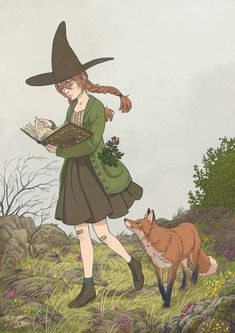 Witch and the fox by Morgane Velten : ImaginaryCharacters Aesthetic Drawing, Aesthetic Art, Pretty Art, Cute Art, Arte Grunge, Witchy Wallpaper, Nature Witch, Witch Characters, Witch Drawing
