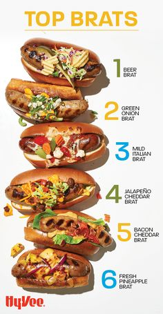 Be inspired by these delicious brat recipes perfect for tailgating or your next barbecue. Not sure which one is best? Try them all! Sauteed Vegetables, Veggies, Chicken And Veggie Recipes, Brats Recipes, Chipotle Mayonnaise, Sriracha Sauce, Good Burger, Bratwurst