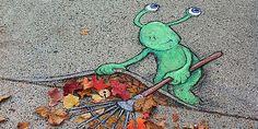 Michigan-based artist David Zinn uses chalk to draw these fun street art illustrations. A self-proclaimed doodler and word nerd, Zinn is always on the l 3d Street Art, Amazing Street Art, Street Art Graffiti, Street Artists, Graffiti Artists, David Zinn, Chalk Artist, 3d Chalk Art, Art Du Monde