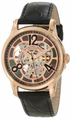 Stuhrling Original Women's 365.134527 Vogue Audrey Rosetta Automatic Skeleton Mother-Of-Pearl Dial Black Leather Strap Watch Stuhrling Original. $164.99. Black alligator embossed genuine leather strap with rosetone tang buckle. Water-resistant to 30 M (99 feet). Rosetone faceplate above black mother-of-pearl dial with center skeleton cut out. Protective krysterna crystal on front and back. 16k rose gold layered round shaped case with step design bezel and coin e...