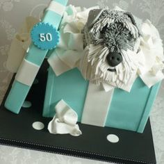Schnauzer Dog Cake Tutorial....make bull terrier instead