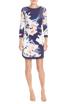 Pastel, floral patterns are totally in this Spring. Loving this Vince Camuto jersey shift dress.