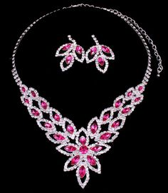 Pink Crystal Rhinestone Formal Wedding Bridal Prom Flower Party Pageant Evening Necklace Earrings Set Elegant Costume Jewelry