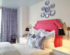 BAKER BALLARD INTERIORS, bedroom, upholstered headboard, ikat fabric, brass & black sconces