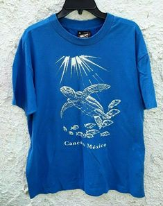 Vintage Cancun Mexico Sea Turtle Logo shirt Blue Mens XL by Fchoicevintage on Etsy Vintage Shirts, Vintage Outfits, Vintage Fashion, College Shirts, Cancun Mexico, Mens Xl, 90s Fashion, Turtle, Trending Outfits
