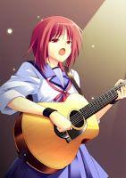 #MusicalInstrument, #RedEyes, #RedHair, #Sad, #Seifuku, #ShortHair, #Singing