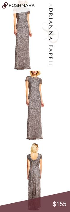 Adrianna Papell Led Scoop Back Sequin Gown A dramatic and eye-catching scoop back gown is covered in glittering sequins, finished with a sheer partial train.This Adrianna Papell design has been made from the finest and most luxurious fabrics. All bead work, embroidery and ornamentation has been done completely by hand. Slight irregularities or variations should not be regarded as defective or damaged, rather a testament to the garments unique beauty. 95% of bead in tact. Length approx 67…