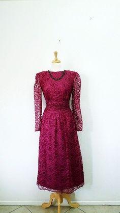 Vintage 60s Lace Dress Feminine Burgundy Long by KMalinkaVintage,