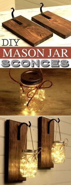Of The Best DIY Mason Jar Crafts (for home & more!), Of The Finest DIY Mason Jar Crafts (for residence & extra!) DIY Mason Jar Sconces -- Loads of DIY mason jar crafts, concepts and initiatives right. Mason Jar Sconce, Mason Jar Lighting, Kitchen Lighting, Diy Mason Jar Lights, Hanging Mason Jars, Mason Jar Shelf, Mason Jar Lanterns, Mason Jar Bathroom, Rustic Mason Jars