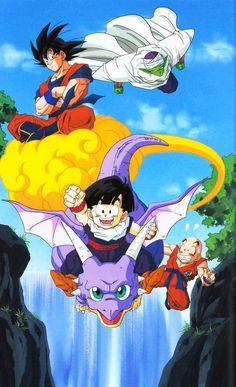 Goku and friends. see more cartoon pics at www.freecomputerdesktopwallpaper.com/wlatest.shtml