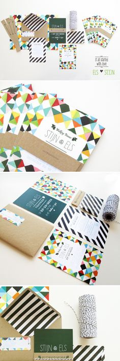 Wedding invitation with bakers twine, stripes and tipies by Mino Paper Sweets