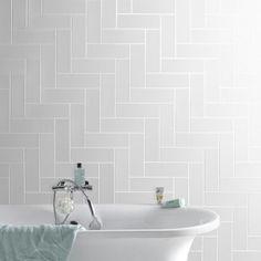 Carrelage mural Basic Briquette AERO en fa¯ence blanc 10 x 30 cm Tiles, Tile Design, White Wall Tiles, Wall Tiles Design, Bathroom, Herringbone Tile, White Walls, Bathroom Decor, Bathroom Inspiration