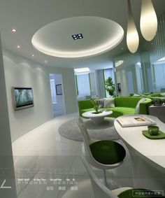 circular-lounge-modern-lighting-lime-green-white.A retro feel with a contemporary twist. The tulip style chairs and lime green hark back to groovier times but paired with stark white and contemporary light fittings it becomes crisp and stylish